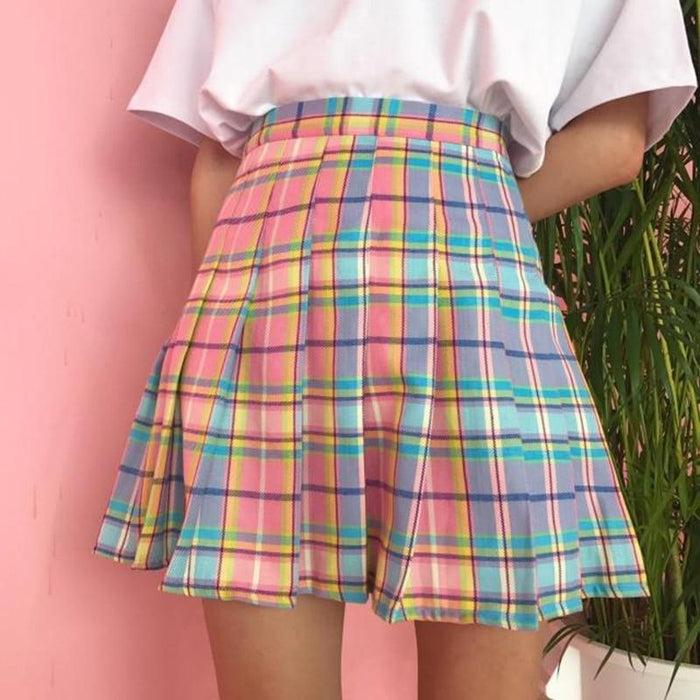 Rainbow Plaid Skirt Women Harajuku Mini Pleated Skirt Cute High Waist Sexy Female Bottoms