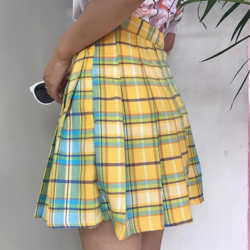 3befa6d29f Rainbow Plaid Skirt Women Harajuku Mini Pleated Skirt Cute High Waist Sexy  Female Bottoms