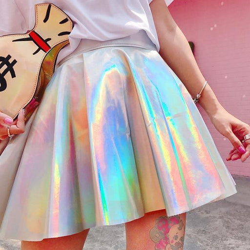 Pleated Skirts Women PU Solid Harajuku Casual Sexy Laser Hight Waist Mini Short Skirts Women Rainbow