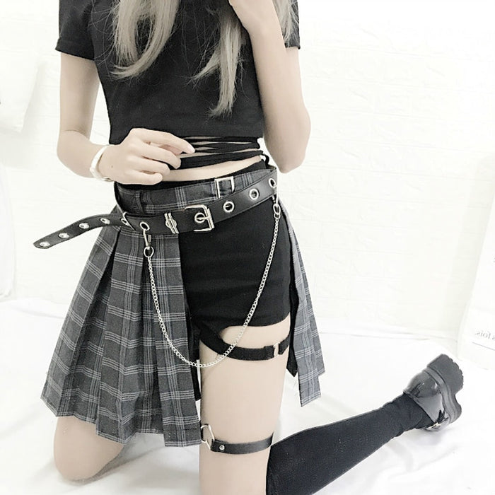 Harajuku Gothic Punk Style Plaid Irregular Skirts Women Asymmetrical High Waist  Skirts