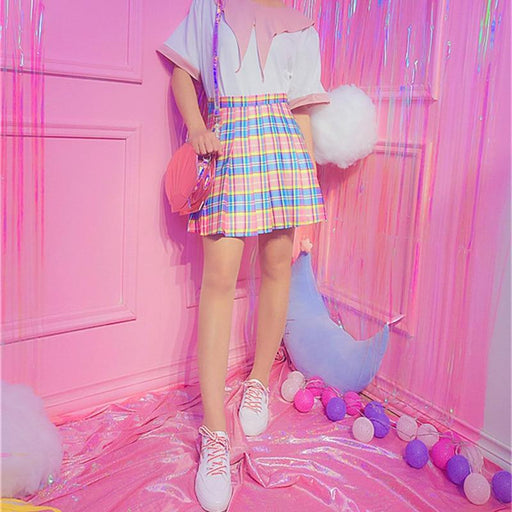 Harajuku Plaid Pleated Skirt High Waist Casual Rainbow A-Line Skirt Female Bottoms Midi Skirt