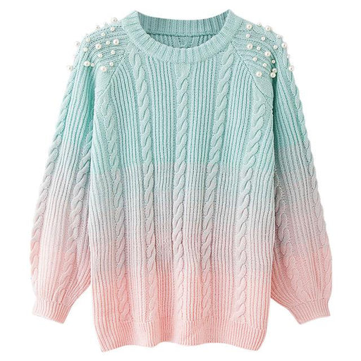 Kawaii Korean Aesthetic Style Pearl Gradient Pink Elegant Warm Sweater