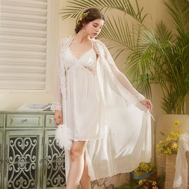 Ruffle Elegance Lace Sweet Babydoll Princess Feeling Nightgown Set