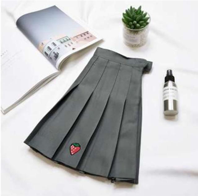 New Harajuku Skirts For Student Strawberry Embroidery Mini Pleated Skirts High Waist Sweet Skirts Female