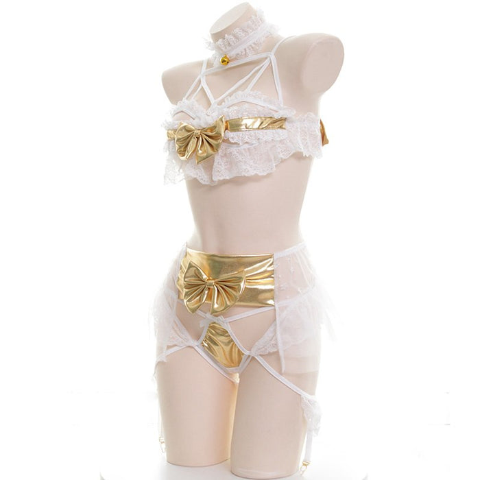 Sexy Japanese Choker Devil Girl Gold Bow Wings Flying Kawaii Sheer Lingerie Set