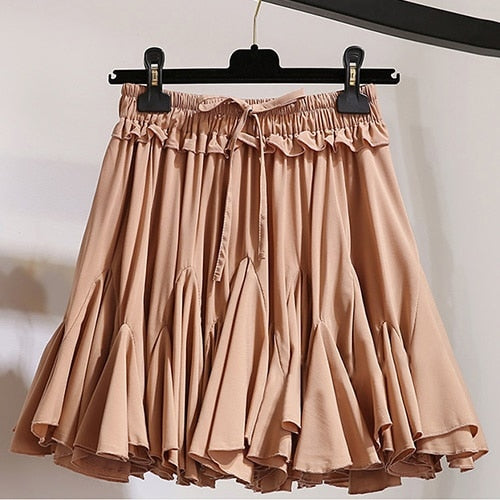 Ruffles Mini Skirts Lolita Elastic High Waist Cute Casual Girls School Pleated Short Cake Skirt