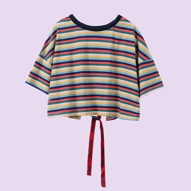Striped short sleeve T-shirt loose round neck top