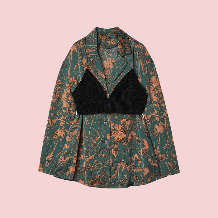 Printed shirt two-piece camisole suit