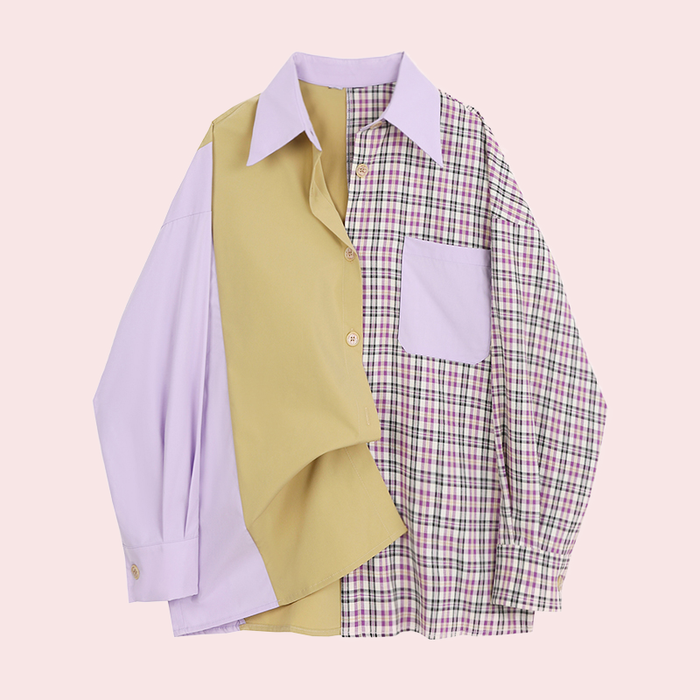 Plaid stitching contrast long-sleeved shirt