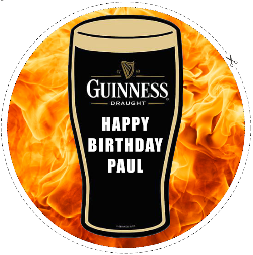 7.5 Guinness Pint Personalised Edible Icing Birthday Cake Topper