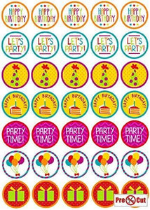 35 x Party Time Birthday Cupcake Topper