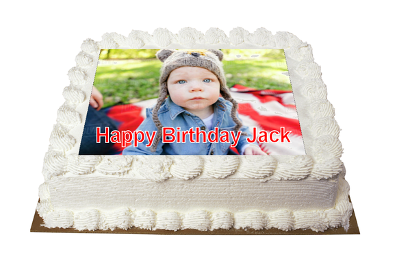 7.5 inch Square Personalised Photo/Your Logo Cake Topper Edible Fondant Icing Sheet Cake Topper