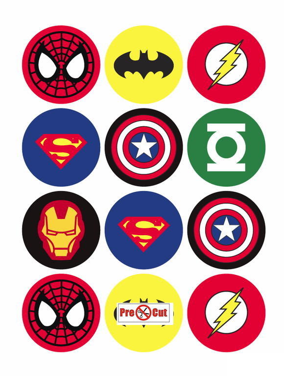 35 x Super hero Cupcake Topper