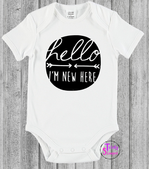 16b84fc27 Hello I m New Here Onesie – Totally Stamped