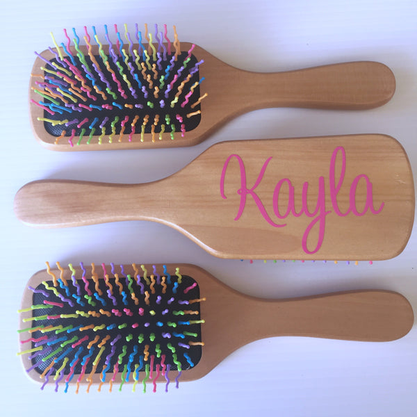 Personalised Wooden Rainbow Hairbrush