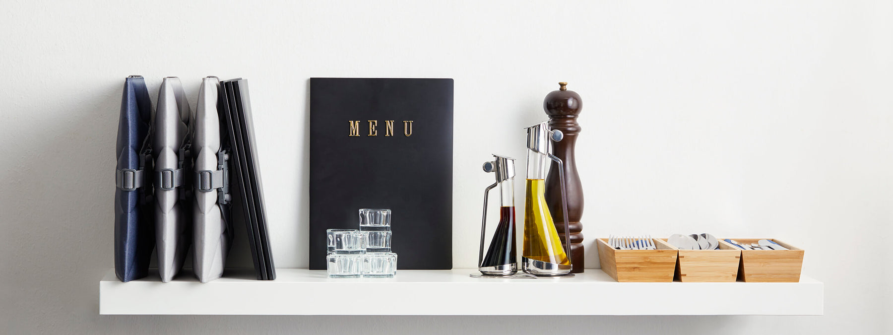 Bombol Foldable Pop-Up Booster on shelf with menu