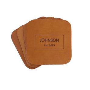 Custom Wedding Leather Coaster Set