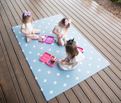 Squishy Play Mat- Steel Blue Cross- Reversible - nursery decor