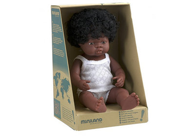 Miniland Doll African Girl - 38cm - nursery decor
