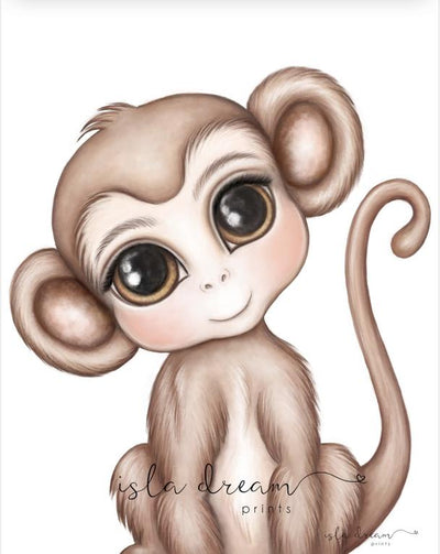 Isla Dream Prints Abu The Monkey Print - nursery decor