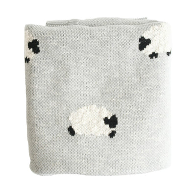 Alimrose Baa Baa Blanket -Organic Cotton Grey - nursery decor