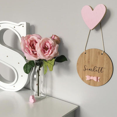 Round Name Plaque - Bow - nursery decor