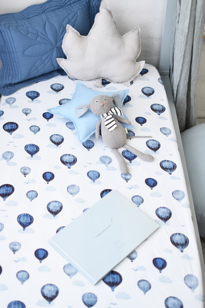 Snuggle Hunny Fitted Cot Sheet - Cloud Chaser - nursery decor