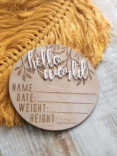 Hello World Wooden & Acrylic Announcement Disc - nursery decor