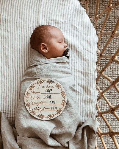 I'm Here Wooden Birth Announcement Disc - nursery decor
