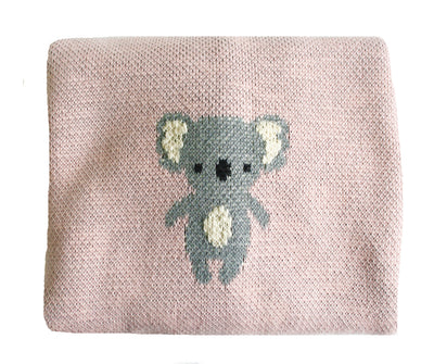 Alimrose Organic Cotton Koala Baby Blanket Pink - nursery decor