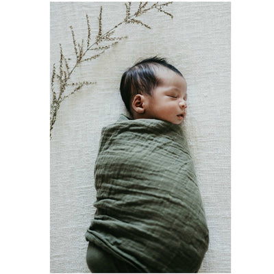 Organic Muslin Wrap - Dusty Olive - nursery decor