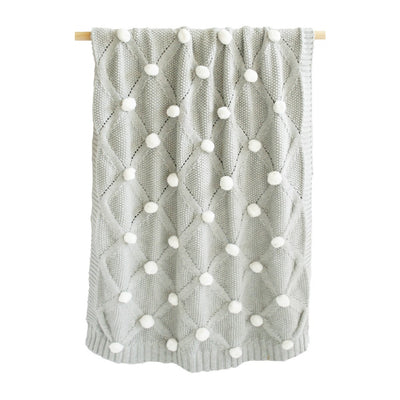 Alimrose Pom Pom Blanket - Grey & Ivory - nursery decor