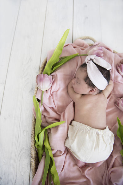 Organic Muslin Wrap - Musk Pink - nursery decor