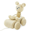 Wooden Pull Along Bear In Car - Teddy - nursery decor