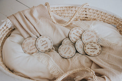Wooden Month Milestone Discs- Wreath - Sweet Little Dreams