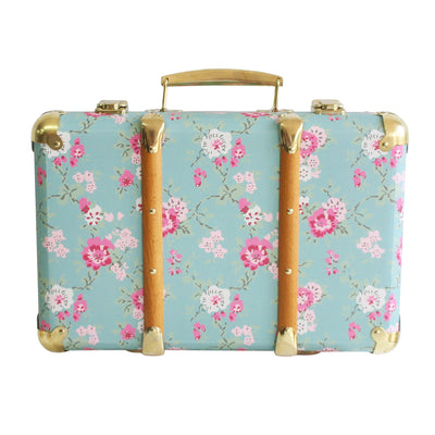 Alimrose Vintage Style Carry Case -  Aqua Cottage Rose - nursery decor