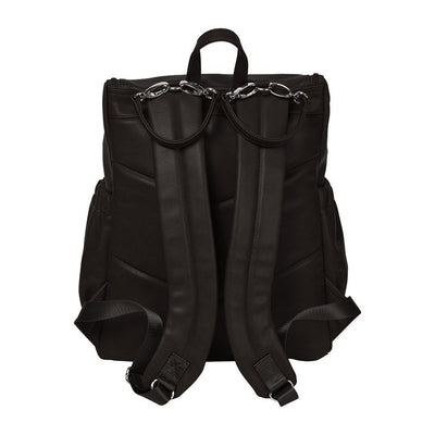 OiOi Faux Leather Nappy Backpack- Black