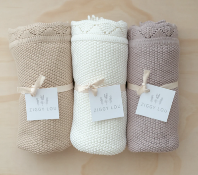 Heirloom Knit Blanket- Milk - nursery decor