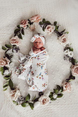 Boho Posy Baby Jersey Wrap & Topknot Set - nursery decor