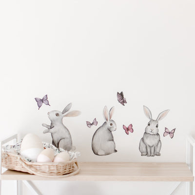 Bunnies Hand Drawn Watercolour Individual Decals - nursery decor