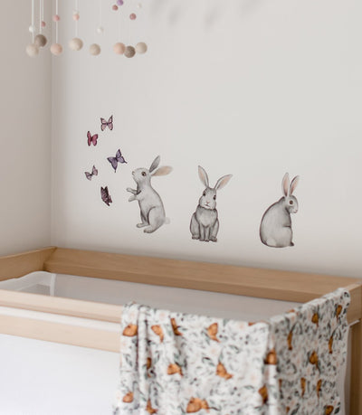 Hand Drawn Watercolour Bunny & Butterfly Decal Set - nursery decor