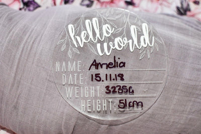 Clear Acrylic Hello World Birth Announcement Disc- Vine - nursery decor