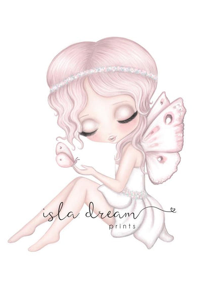 Isla Dream Prints Grace the Butterfly Fairy Sitting Print - nursery decor