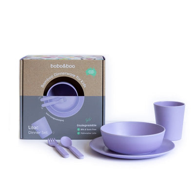 Bobo&Boo Bamboo Dinnerware Set- Lilac - nursery decor