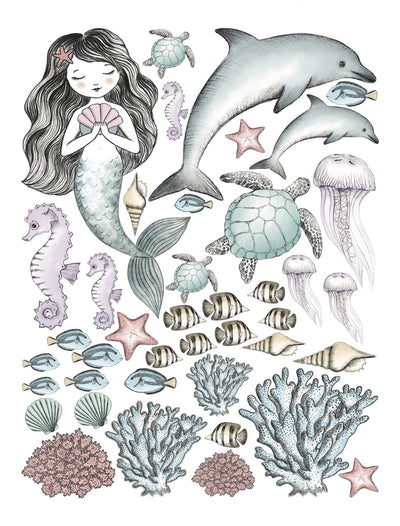 Mermaid & Sea Creatures Hand Drawn Watercolour Decals Set - Sweet Little Dreams