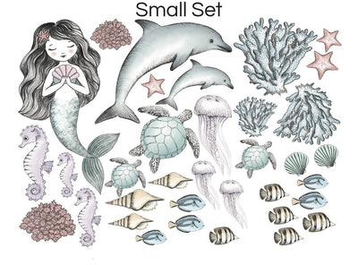 Mermaid & Sea Creatures Hand Drawn Watercolour Decals Set - nursery decor