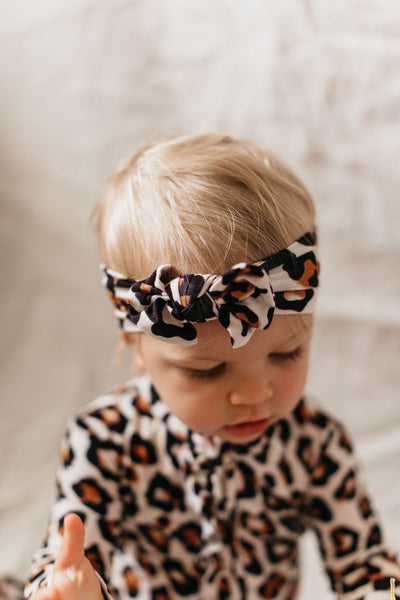 OiOi Bamboo Top Knot Headband-Natural Leopard