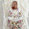 Pink & Yellow Floral Double Gauze Swaddle With Cream Fringe - nursery decor