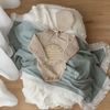 Seamist Swaddle With Cream Fringe - nursery decor