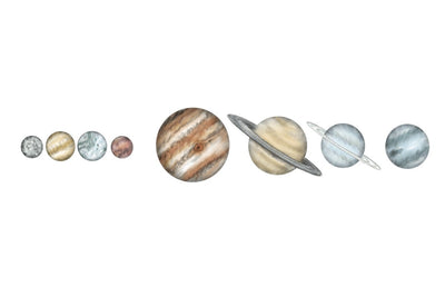 The Solar System- Hand Drawn Watercolour Decals - nursery decor